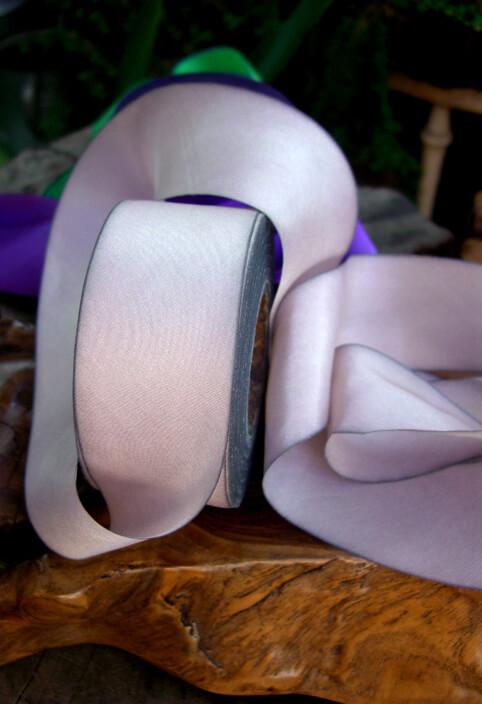 Custom Dyed 100% Silk Ribbon Violaceous Tan 1.5in x38 yd
