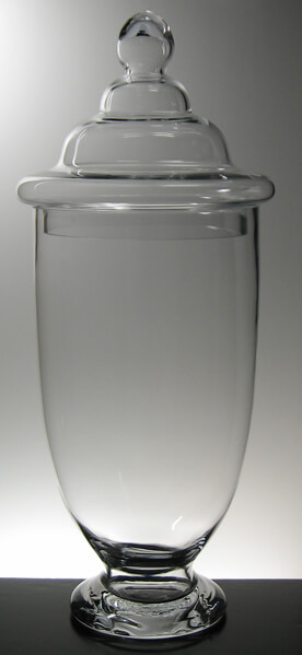 Large Decorative Glass Apothecary Jar with Lid 23 In.