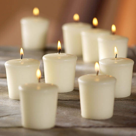 9 Ivory Unscented Votive Candles 15hr