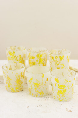 6 Frost & Gold Votive Candle Holders