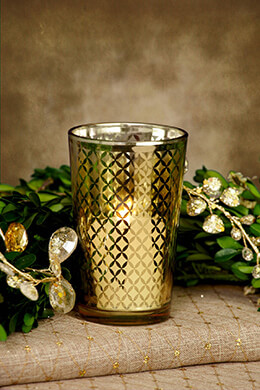 Votive Holder Gold Lattice 4in (Set of 6)
