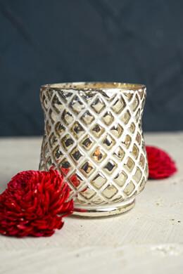 Tealight Holder 4in Embossed Mercury Glass