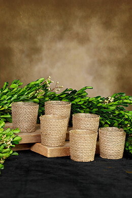 Votive Holders Burlap Wrapped (Set of 6)