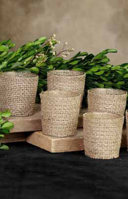 Burlap Votive Holders -Set of 6