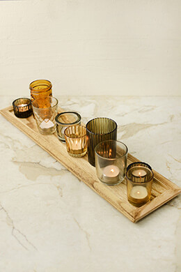 Votive Holders on Wood Tray