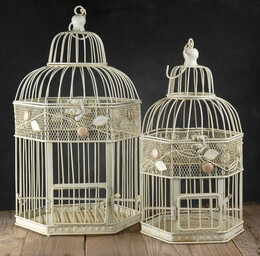 "Wedding Birdcages Antique White (set of two) 17"" & 15"""