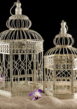 Cream Hexagon Wedding Bird Cages (set of 2)