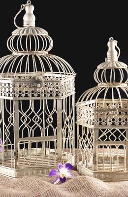 Vintage Bird Cages Set of 2 Cream Hexagon