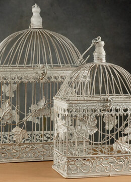 "Wedding Birdcages Set of Two, White Ivy & Butterflies 17"" & 13"""