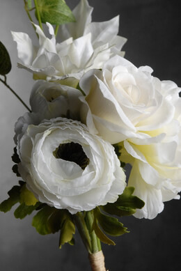 Wedding Bouquet with White Peonies, Ranunculus and Roses