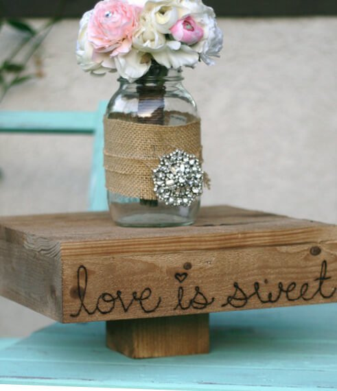 Love Is Sweet Wedding Cake Stand 14in