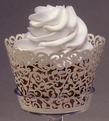 Wedding Cupcake Wrappers Ivory Vine Pattern (Pack of 50)