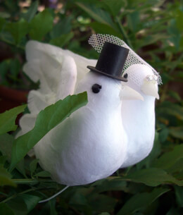 "Wedding Doves 7"" Artificial Birds (set of two)"