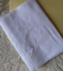 Wedding Handkerchief GRANDMOTHER of the GROOM- Embroidered with a card and envelope