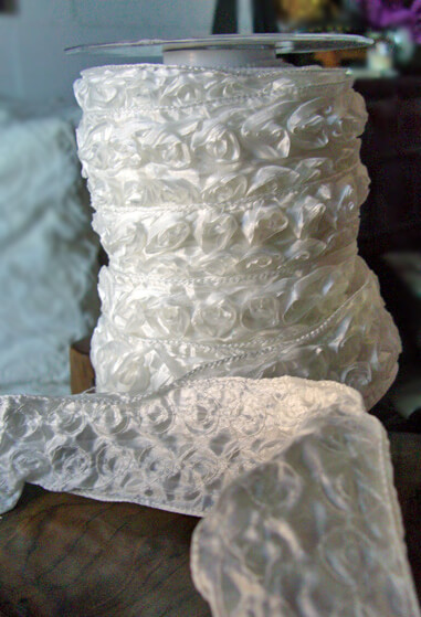 "Wedding Ribbon2"" Width  Rolled Satin Roses"