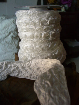 "Wedding Ribbon French Wired Ivory Rolled Roses 2"" width 11 yards"
