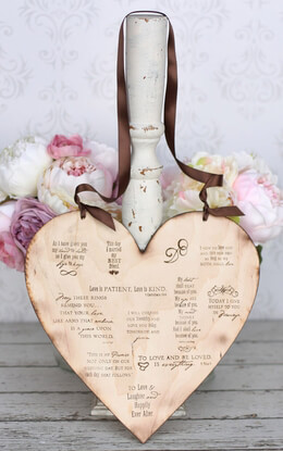 "Wedding Signs 12"" Wood Heart with Love Quotes"