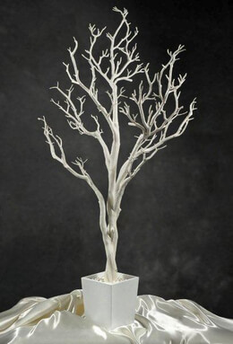 Tall  4'  White Potted Wedding Tree