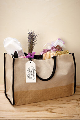 Burlap & Cotton Tote Bag with Black Trim & Lining