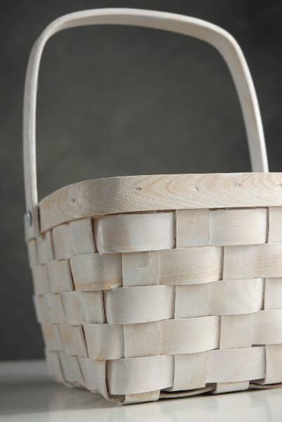 Wood Basket with Handle White 8in