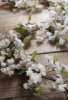White Silk Cherry Blossom Garlands 6.5ft