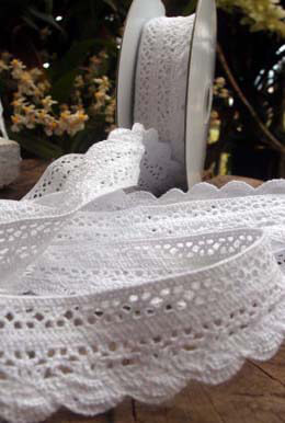 "White Cotton Lace Ribbon Trim 1-1/3"" wide x 10 yards"