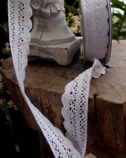 "Cotton Crochet Ribbon White 1"" (10 yards)"