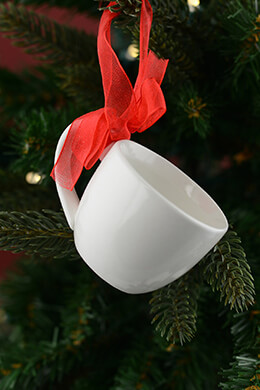White Cup Ornament 2in (Set of 6)