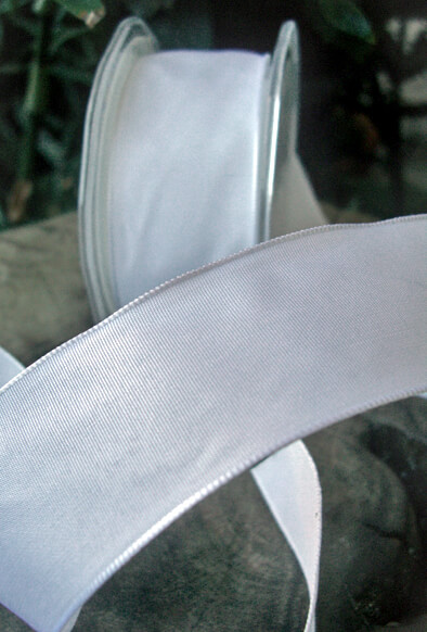 "White French Wired Taffeta Ribbon with wire 1.5"" wide 9 yards"