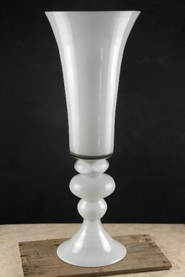 Tall White Glass 30 Inch Trumpet Vases