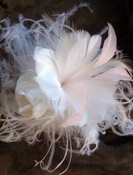 "Millinery Flowers 5.5"" White & Pink Feather Flower"
