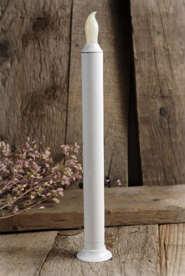 LED Battery Operated Taper Candle White 9.5in