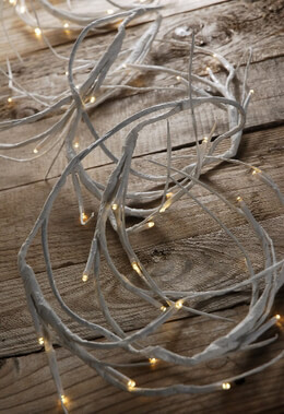 LED Warm White 6 Feet Battery Operated White Branch Garland