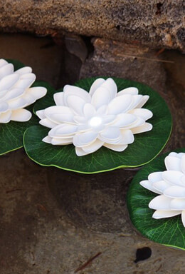 Floating Lily Pad Light, Acolyte LilyLyte, Battery Operated LED, WHITE