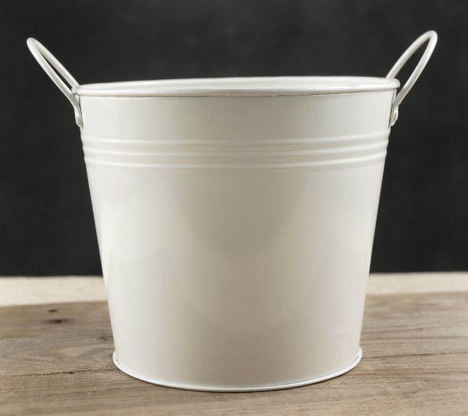 """White Metal Bucket 6.5"""" with 2 Handles"""