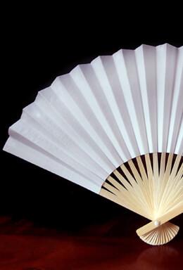 "10 Paper Folding Fans White 14"""