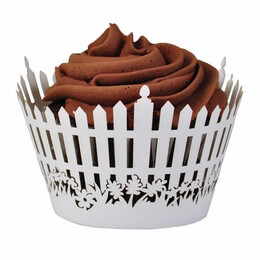 Cupcake Wrappers White Picket Fence (Pack of 12)