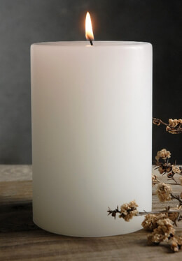 White Pillar Candle 6in