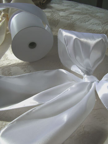 "White Satin French Wired Ribbon 4"" width 10 yards"
