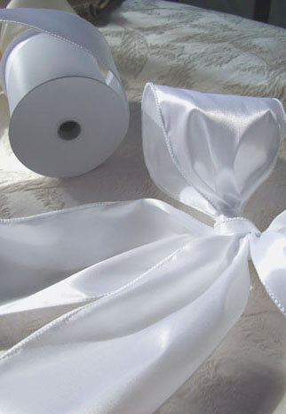 """White 4"""" Wide Satin Wired Ribbon 10yds"""