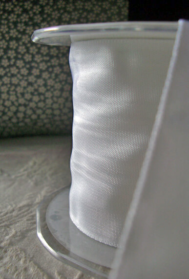 """Extra Wide 3"""" Wired White Moire Ribbon  27ft"""