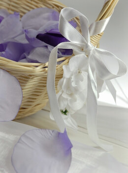 "White Satin Ribbon with Silk Orchid Flowers 32"" long"