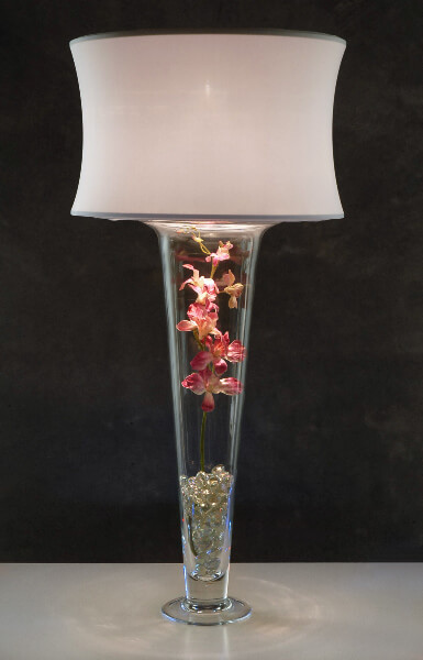 White Lamp Shade and Light for Vases