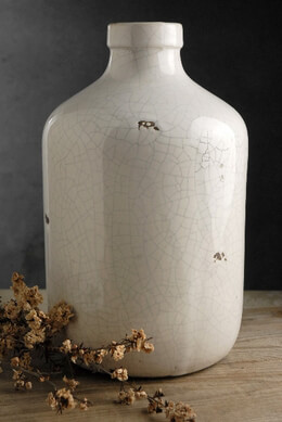 Charleston Crackle Glaze White Stoneware Jug Vase 7x11in