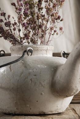White Stoneware Teapot Vase
