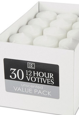 30 Votive Candles White Unscented
