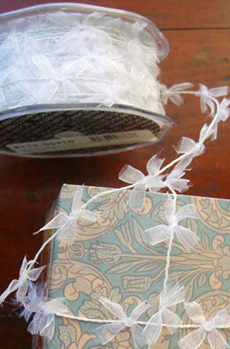 White Wired Ribbon with Sheer Ribbon Bows 27 yards
