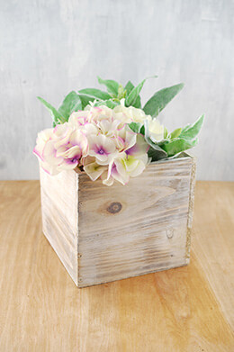 Whitewashed Wood Planter 7in