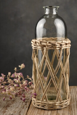 Glass Bottle in Wicker Basket