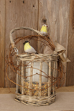 Wicker Candle Holder 8in